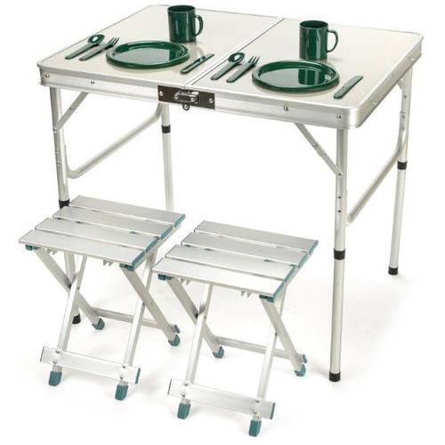 "Click here to buy 31.4"" 2 Person Aluminum Lightweight Folding Camp Table with 2 Folding Stools by... by Trademark Innovations."