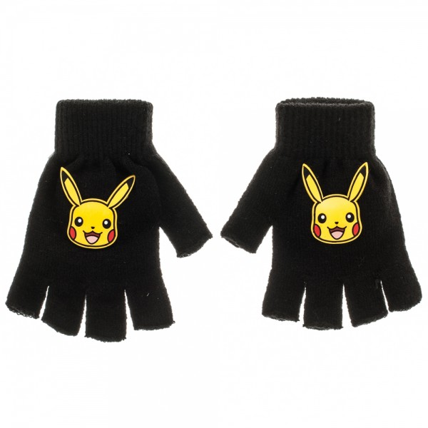 Pokemon Pikachu Knit Fingerless Gloves Black