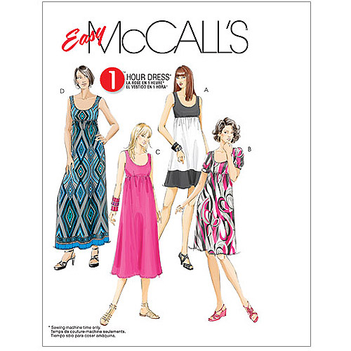 McCall's Pattern Misses' and Women's Dresses in 4 Lengths, RR (18W, 20W, 22W, 24W)