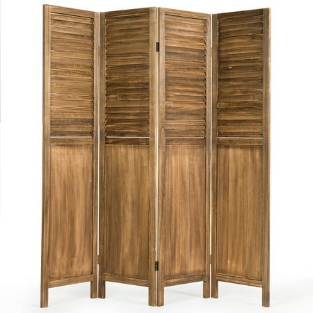Costway 4 Panel Folding Privacy Room Divider Screen Home Furniture 5.6 Ft Tall Brown ()