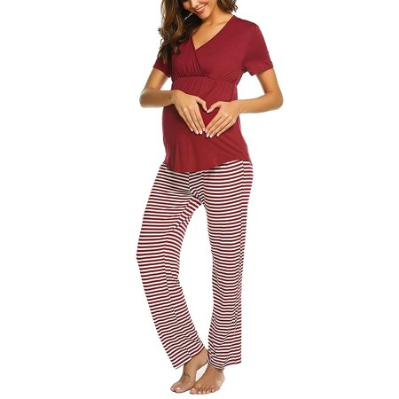 2019 Women Maternity V-neck Nursing Baby T-shirt Tops+Stripe Pants Pajamas Set