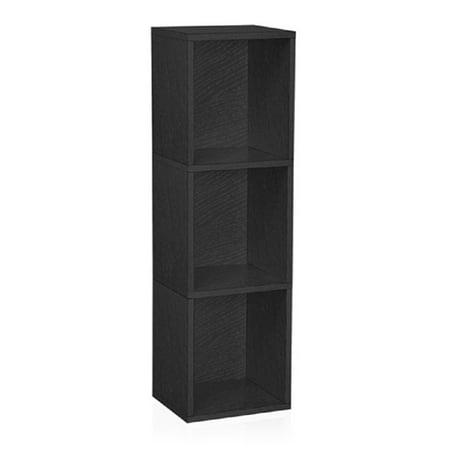 Way Basics Eco 3-Shelf Triple Cube Plus Narrow Bookcase and Storage Shelf, Black Black 3 Shelf Bookcase