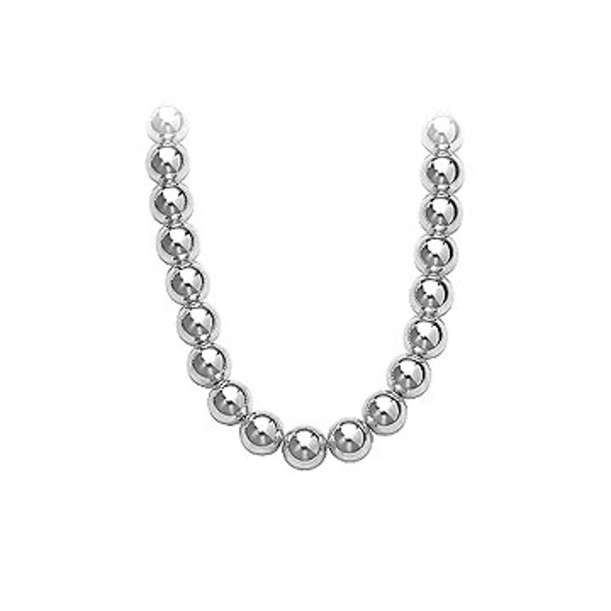 d54f9eccbc6 Gold Beads Necklace on 14K White Gold Chain with 10MM White Gold Beads