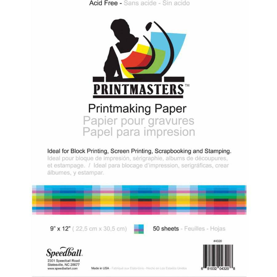 Speedball Print Master Block Printing Paper, 60 Pound, Multiple Sizes, Pack of 50