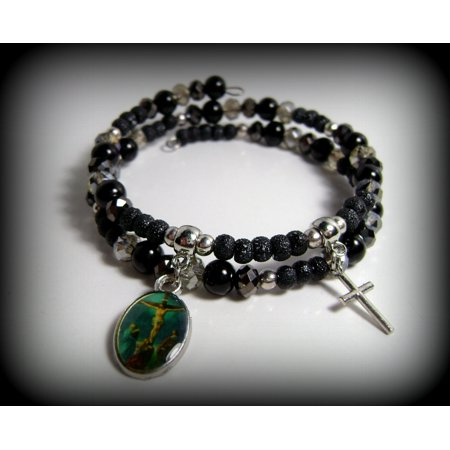 Religious Cross Charm Beaded Black and Gray Swarovski Faux Crystal Glass Pearl and Stardust Beads Double Wrap Memory Wire Bracelet #66