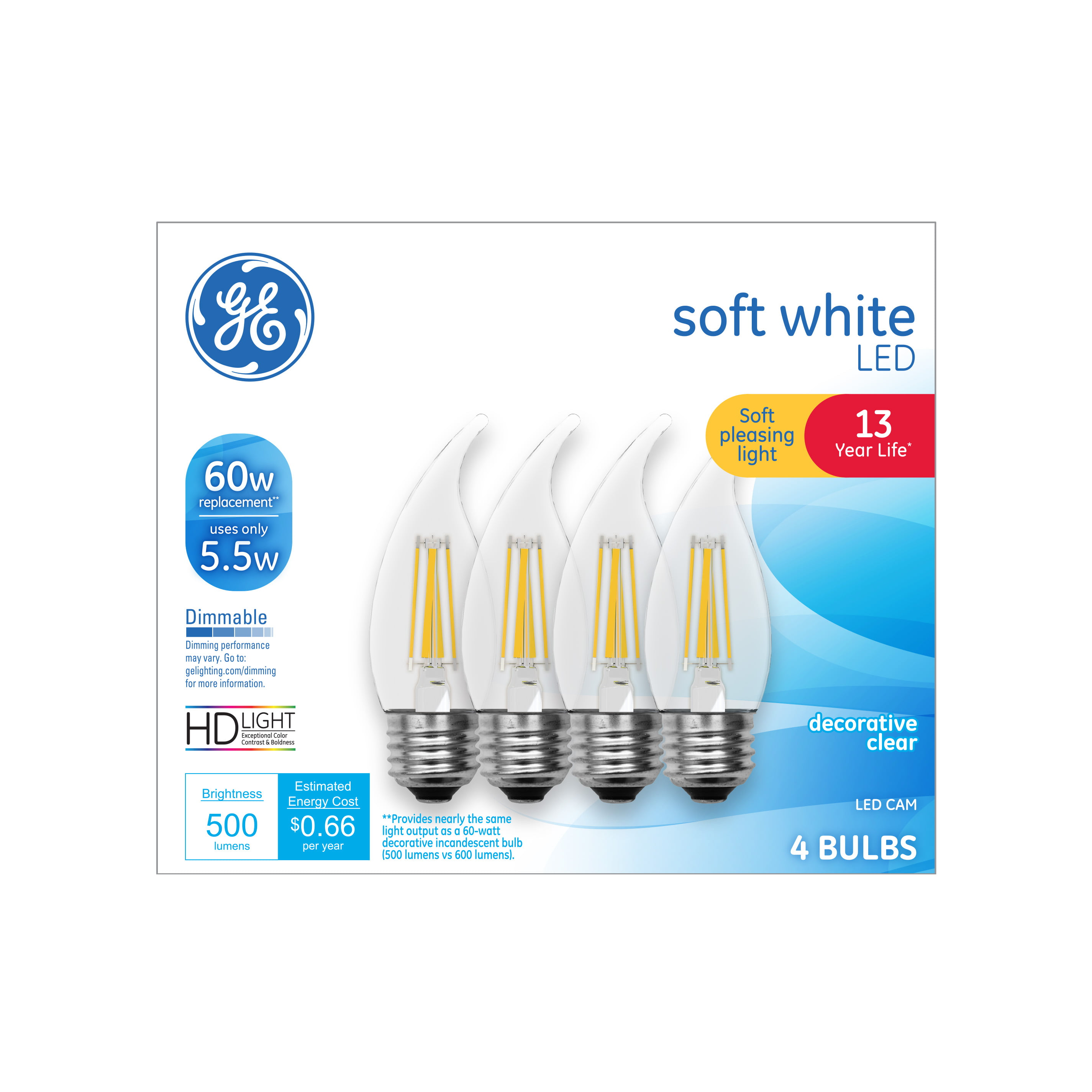 Ge Led 5 5w 60w Equivalent Hd Soft White Clear Decorative Light Bulbs Medium Base Dimmable 4pk Walmart Com Walmart Com