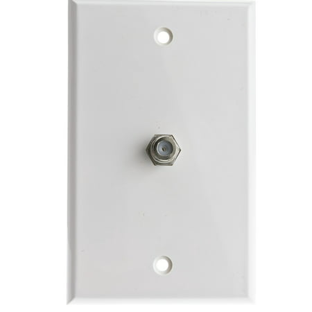 ACCL TV Wall Plate with 1 F-pin Coupler (White), 2pk