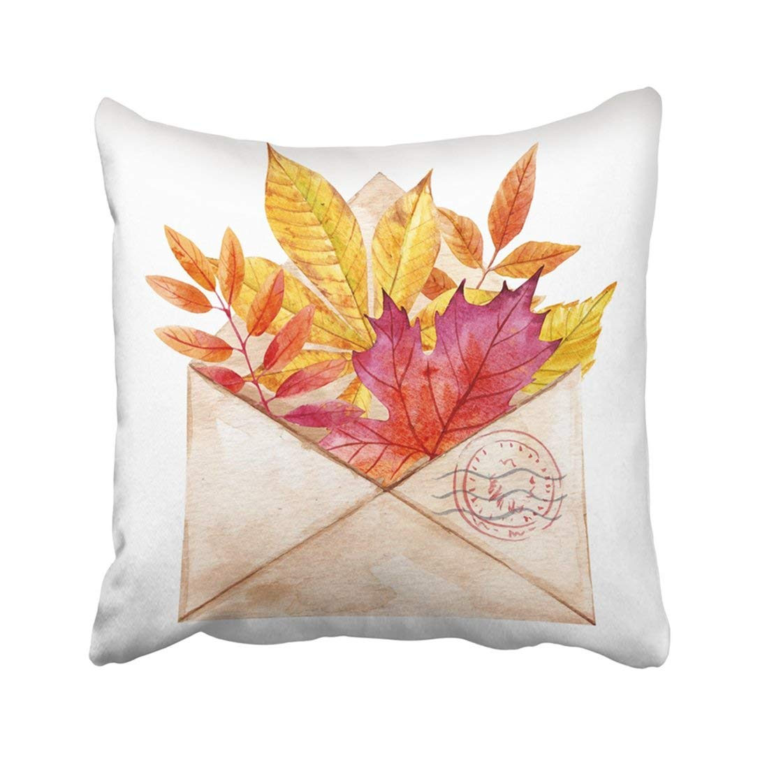 BPBOP Watercolor Of Retro Envelope With Autumn Leaves Yellow Red Birch Maple Chestnut Oak Pillowcase Throw Pillow Cover Case 20x20 inches