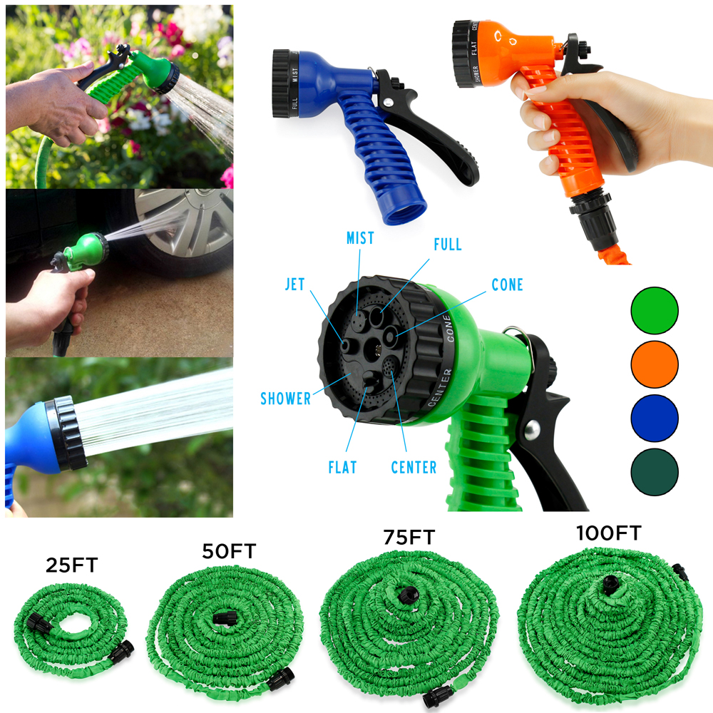 Expandable Flexible Stronger Deluxe Garden Water Hose w/ Spray Nozzle