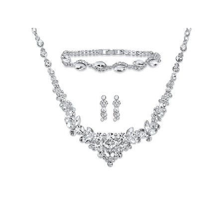 Round and Marquise-Cut Crystal 3-Piece Floral Cluster Earrings, Necklace and Bracelet Set in Silvertone - Round Crystals Necklace Set