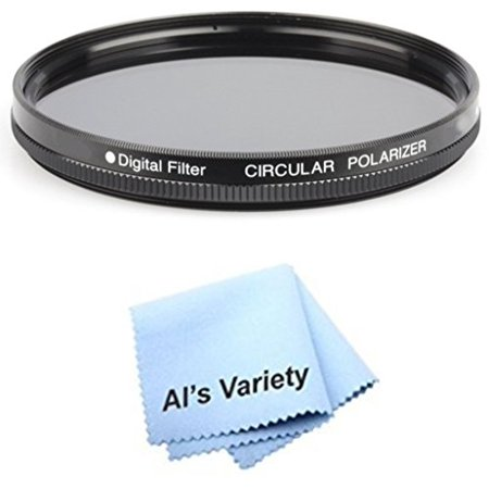 55mm Circular Polarizer Multicoated Glass Filter (CPL) for Sony Alpha  DSLR-A230 + Microfiber Cleaning Cloth