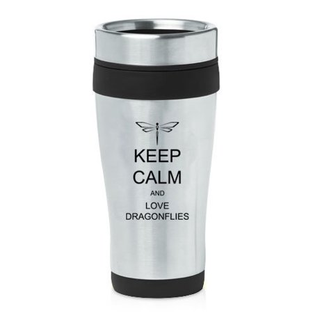 Black 16oz Insulated Stainless Steel Travel Mug Z2170 Keep Calm and Love