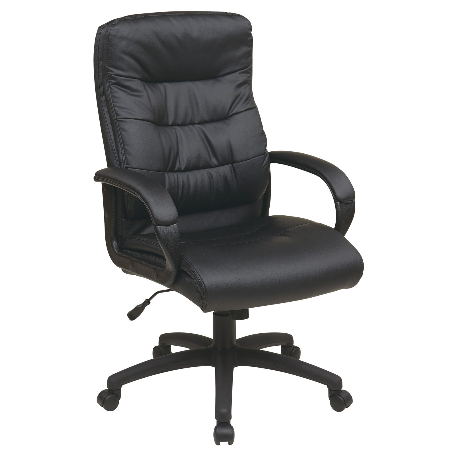 High-Back Faux-Leather Executive Office Chair with Padded Arms, Black