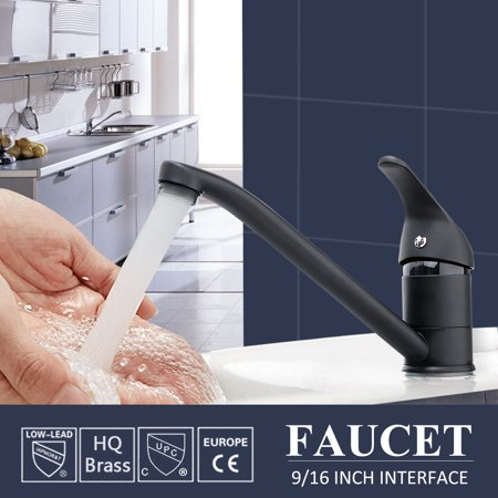 ❤ Clearance ❤ AUGIENB Brass Kitchen Mixer Tap Faucets Spout Sink Hot/Cold Mixer Single Hole Deck Mount Mixer Tap Black + Chrome Surface