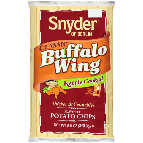 Snyder Of Berlin Classic Buffalo Wing Kettle Cooked Thicker and Crunchier Potato Chips, 8.5 Oz.