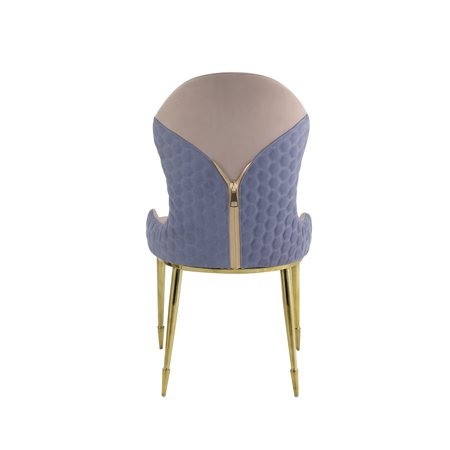 Caolan Side Chair(Set of 2) in Tan, Lavender Fabric & Gold
