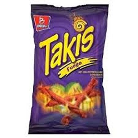 Barcel Takis Fuego Hot Chili Pepper & Lime Flavored Corn Tortilla Chips Snacks One 9.9 oz Bag