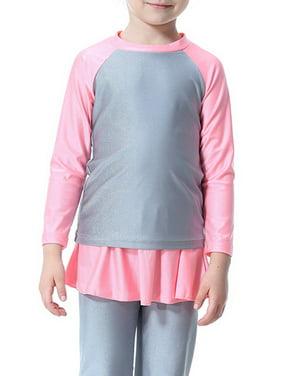 Girls Swimwear Kids Modest Full Cover Islamic Muslim Long Sleeve Swimsuits