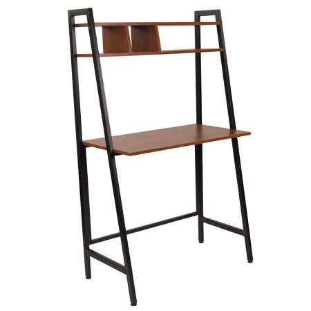 - Flash Furniture Wilmette Cherry Wood Grain Finish Computer Desk with Storage Shelf and Black Metal Frame