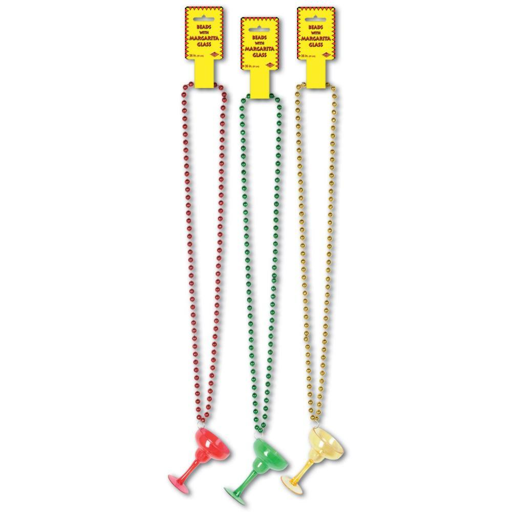 (Pack of 12) Cinco de Mayo Party Beads with Margarita Glass