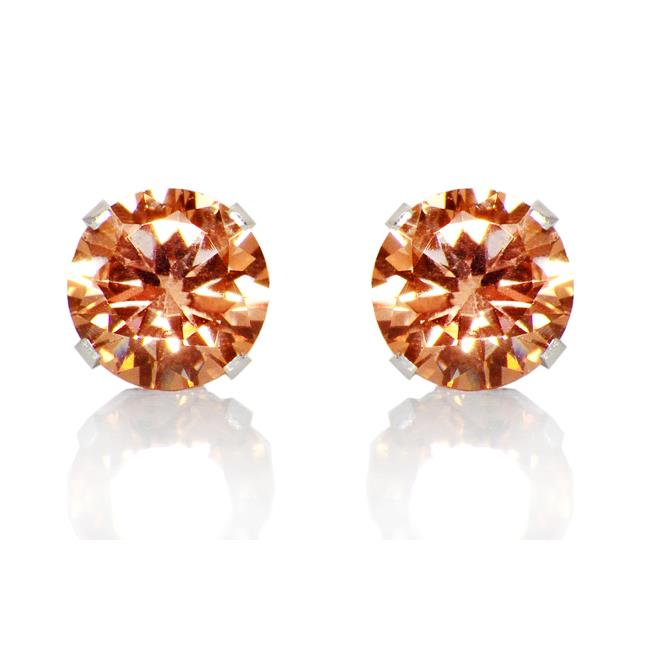 Precious Stars SEZ6RA925 Sterling Silver 6 mm.  Amber Round Cubic Zirconia Stud Earrings