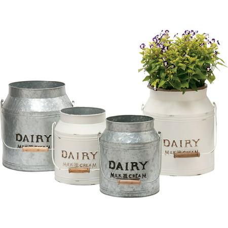 Image of Deer Park Ironworks-Dairy Jug Planter Cream/galvanized- Galvanized Set Of 2 (Case of 4 )