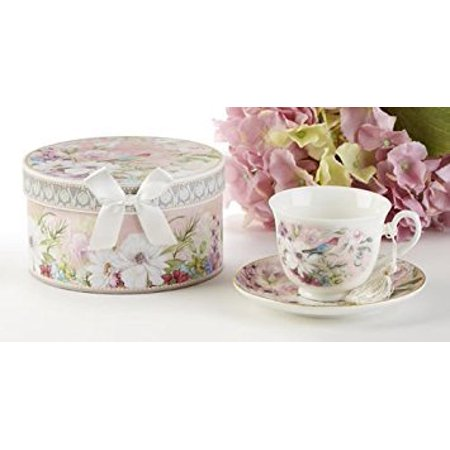 """Delton 3.6"""" Porcelain Cup/Saucer, Daisy Bird, white, Pink, - image 1 of 1"""