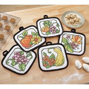 Herrschners® Autumn Stained Glass Pot Holders Stamped Cross-Stitch