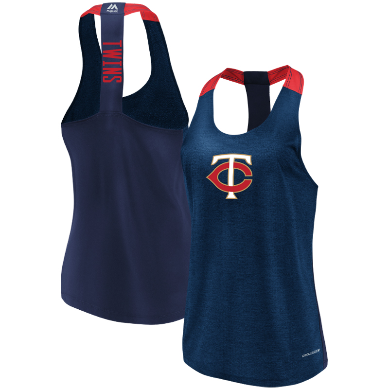 Minnesota Twins Majestic Women's Desire More Cool Base Tank Top Heathered Navy by MAJESTIC LSG