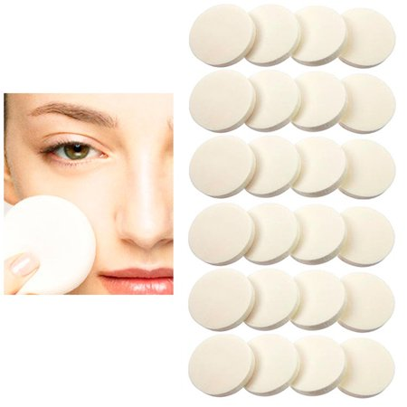 24 Cosmetic Sponge Round Foam Pad Make Up Applicator Foundation Powder