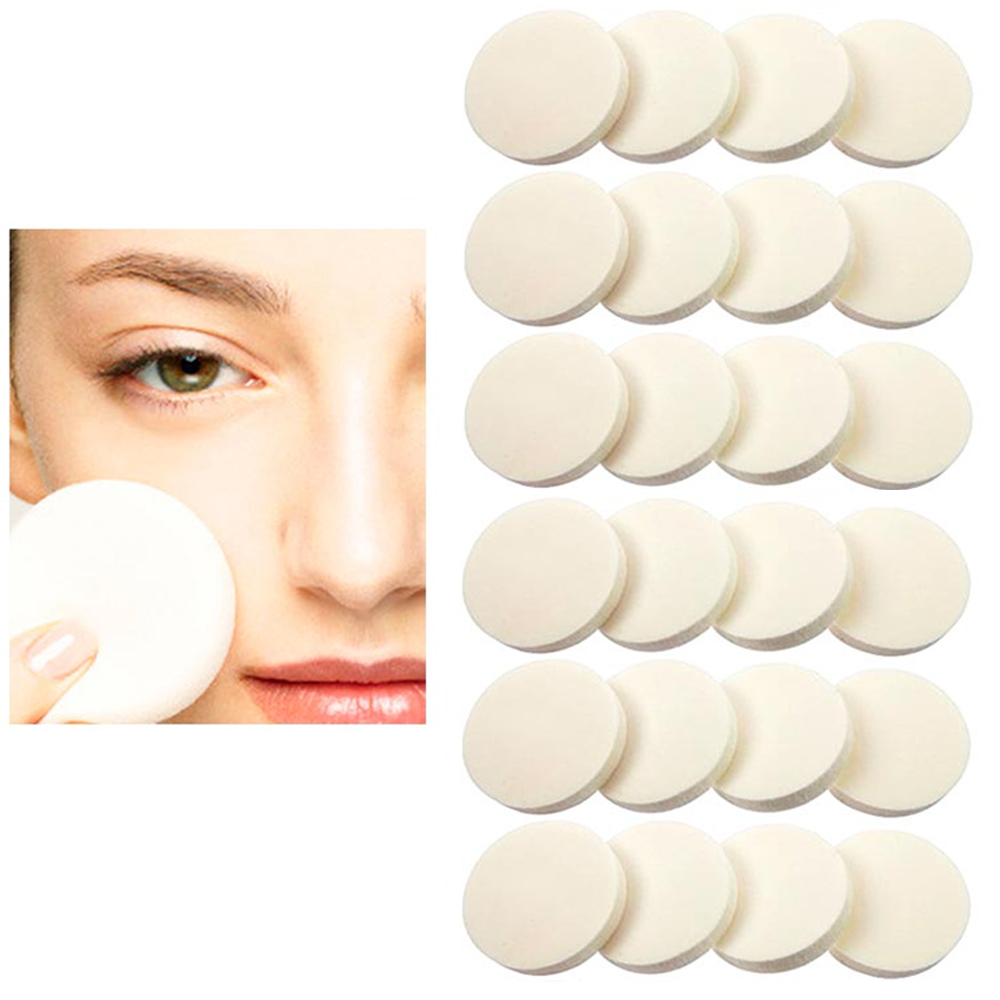24 Cosmetic Sponge Round Foam Pad Make Up Applicator Foundation Powder Blender