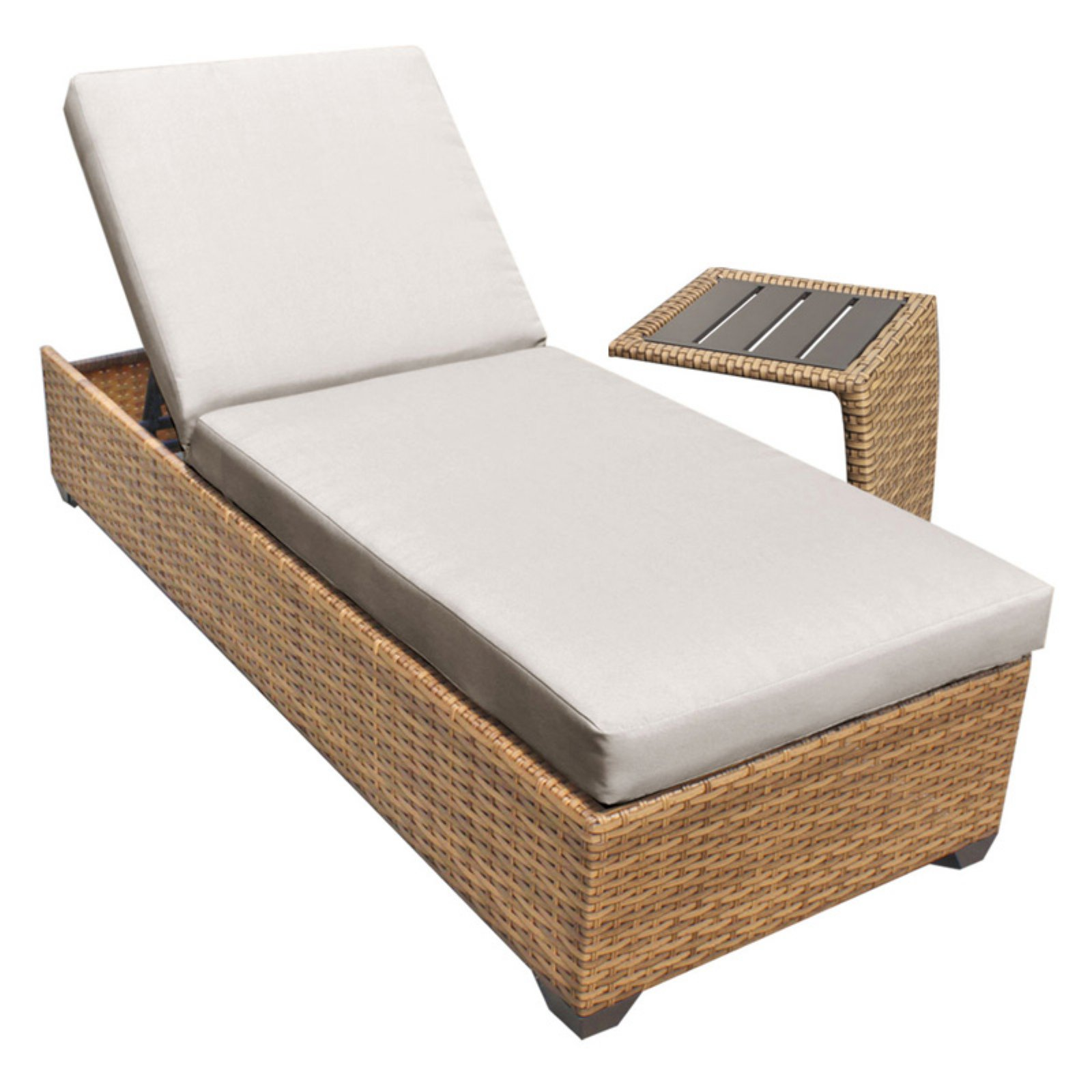 TK Classics Laguna Outdoor Chaise Lounge with Side Table - Set of 2 Cushion Covers