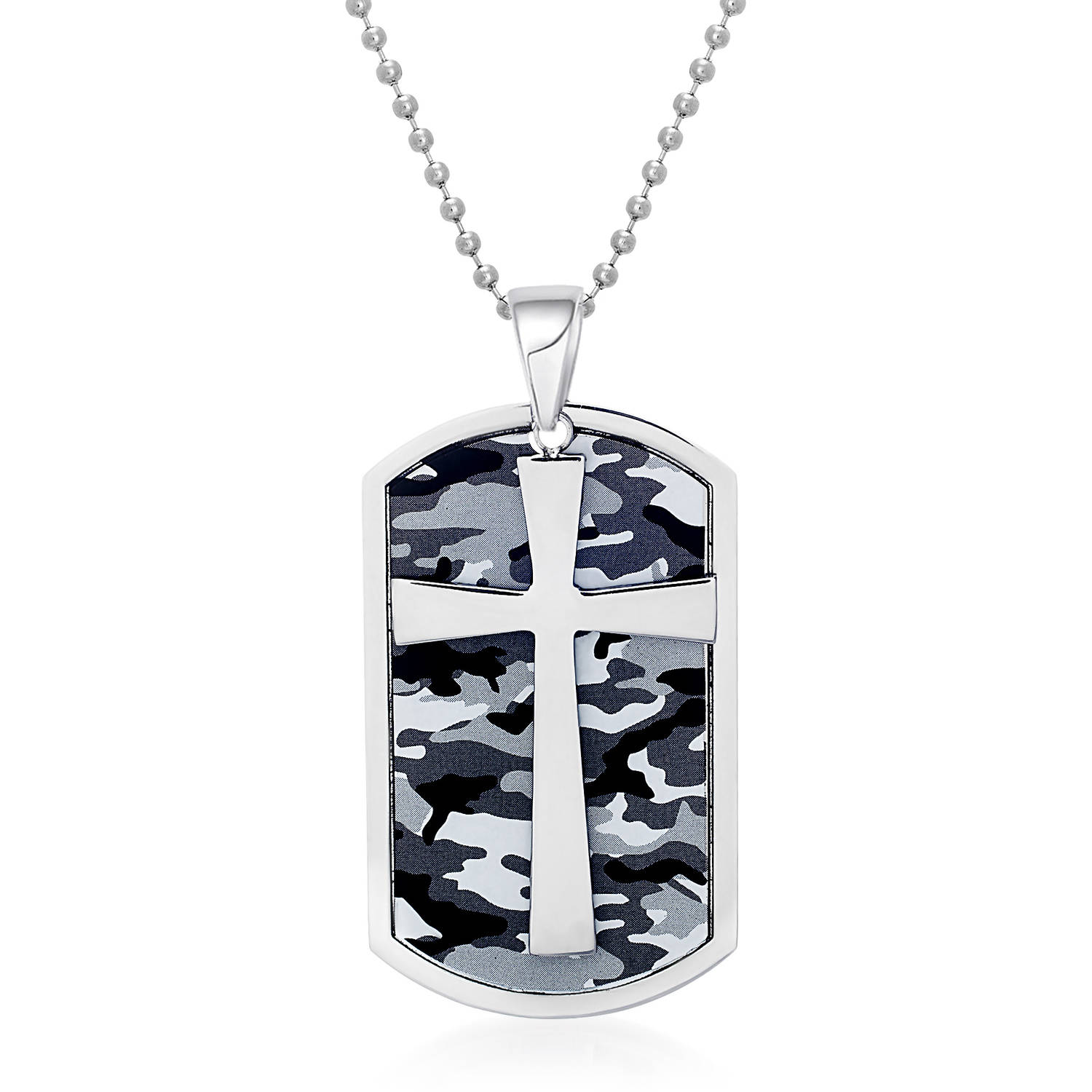 Men's Stainless Steel Camo and Cross Dog Tag Pendant