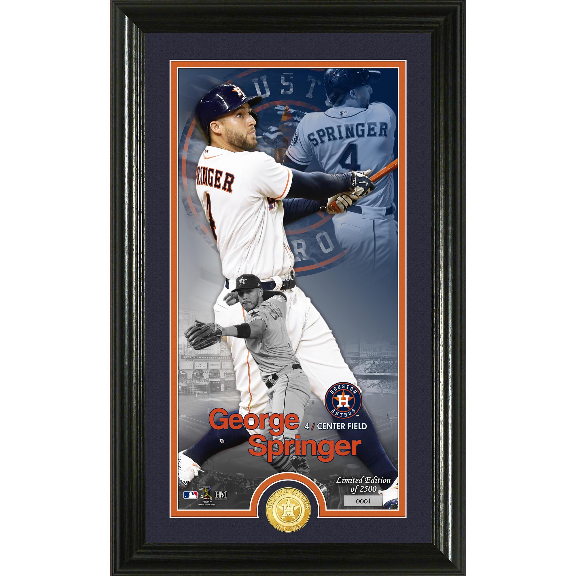 "George Springer Houston Astros Highland Mint 12"" x 20"" Player Supreme Photo Mint - No Size"