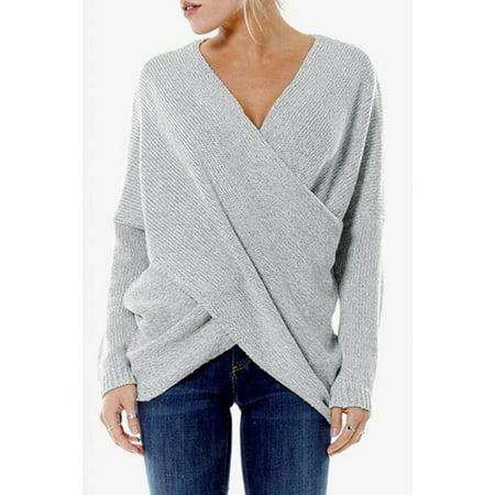 Women's Fashion Cross Front Irregular Hem Sweaters (Derek Lam 10 Crosby Cross Front Sweater)
