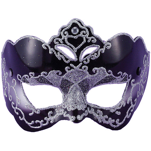 Black with Silver Half Style Adult Halloween Mask