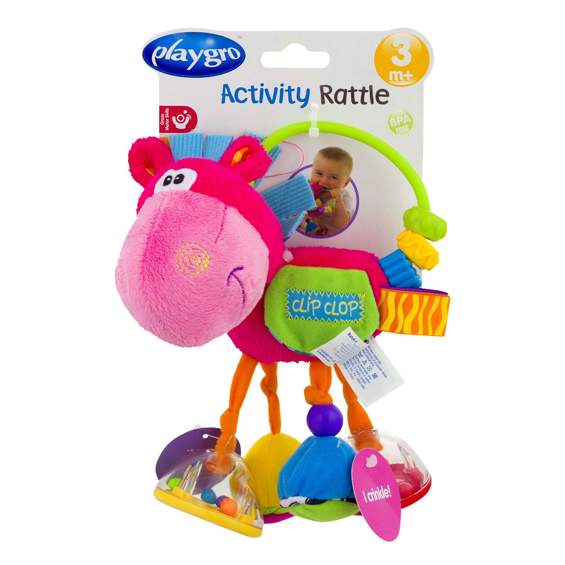 Playgro Clopette Activity Rattle, Pink