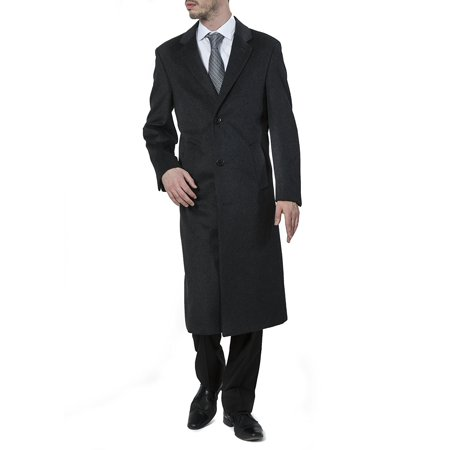 Men's 40902 Single Breasted Wool Cashmere Full Length Topcoat – Charcoal - 50L