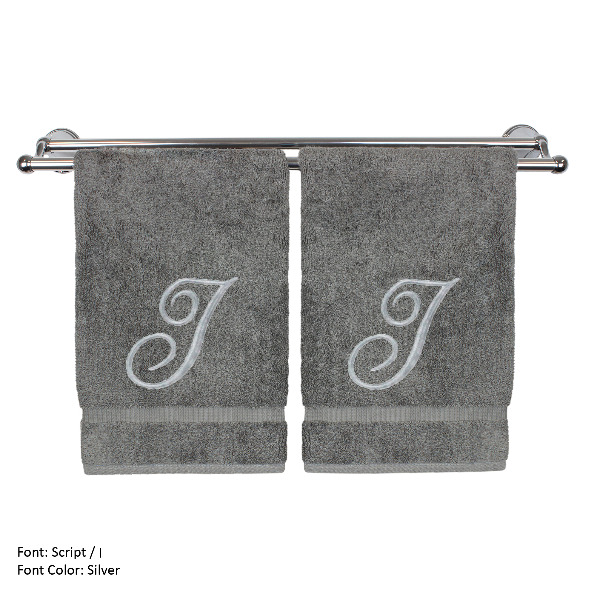 Monogrammed Washcloth Towel, Personalized Gift, 13x13 Inches - Set of 2 - Silver Script Embroidered Towel - Extra Absorbent 100% Turkish Cotton - Soft Terry Finish - Initial I Gray