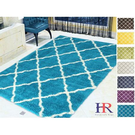 Handcraft Rugs Shaggy Rug Moroccan Trellis Diamond Pattern