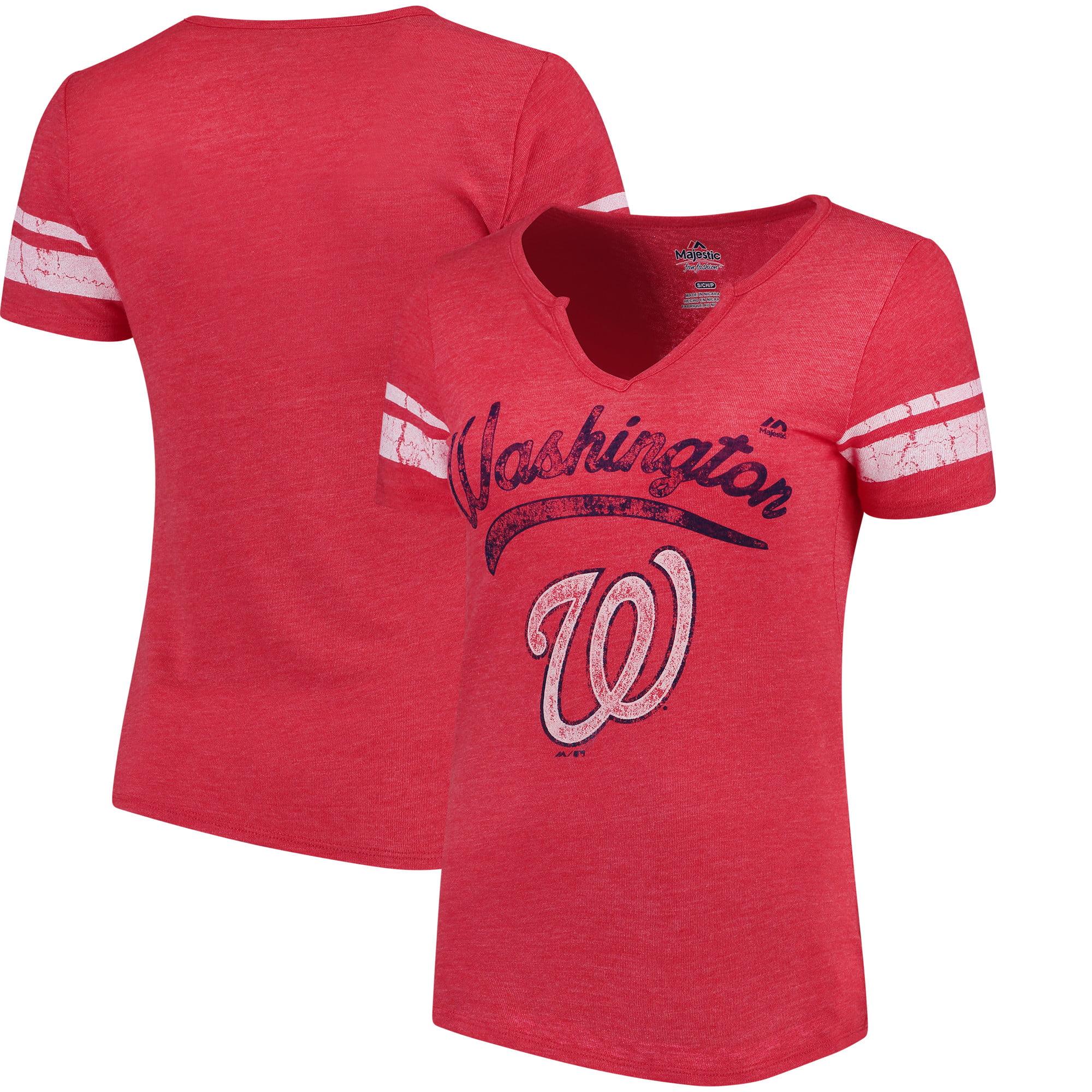 Washington Nationals Majestic Women's Spirit Awareness V-Neck T-Shirt - Heather Red