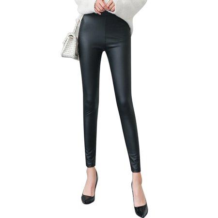 LELINTA Fashion Women's Winter Faux Leather Warm Leggings Stretchy Slim Black Pants Leggings Size S-4XL (Halloween Leather Pants)