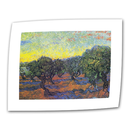 ArtWall ''Olive Grove with Yellow Sky'' by Vincent van Gogh Painting Print on Canvas