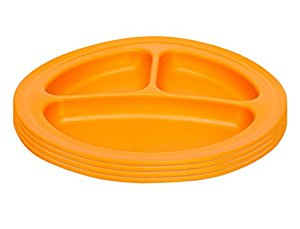 Green Eats Divided Plates, 4 Pack, Orange by Green Eats