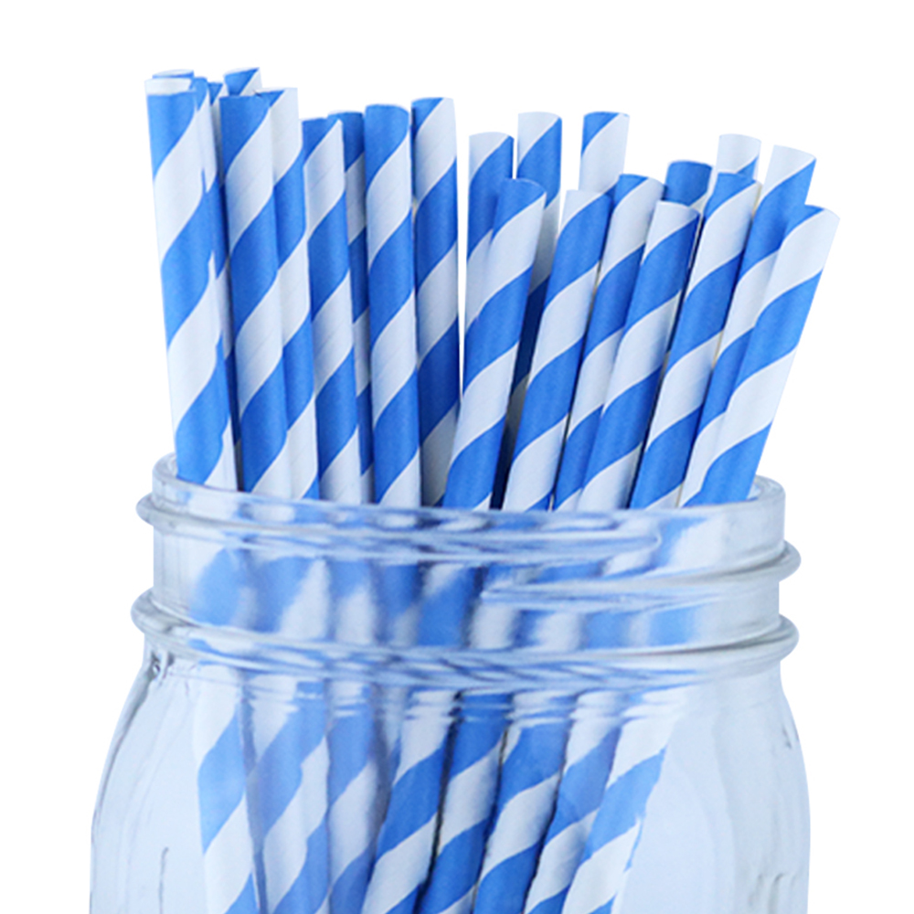 Just Artifacts 100pcs Decorative Striped Paper Straws (Striped, Blue)