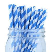 Just Artifacts 100pcs Decorative Striped Paper Straws (Striped, Blue)