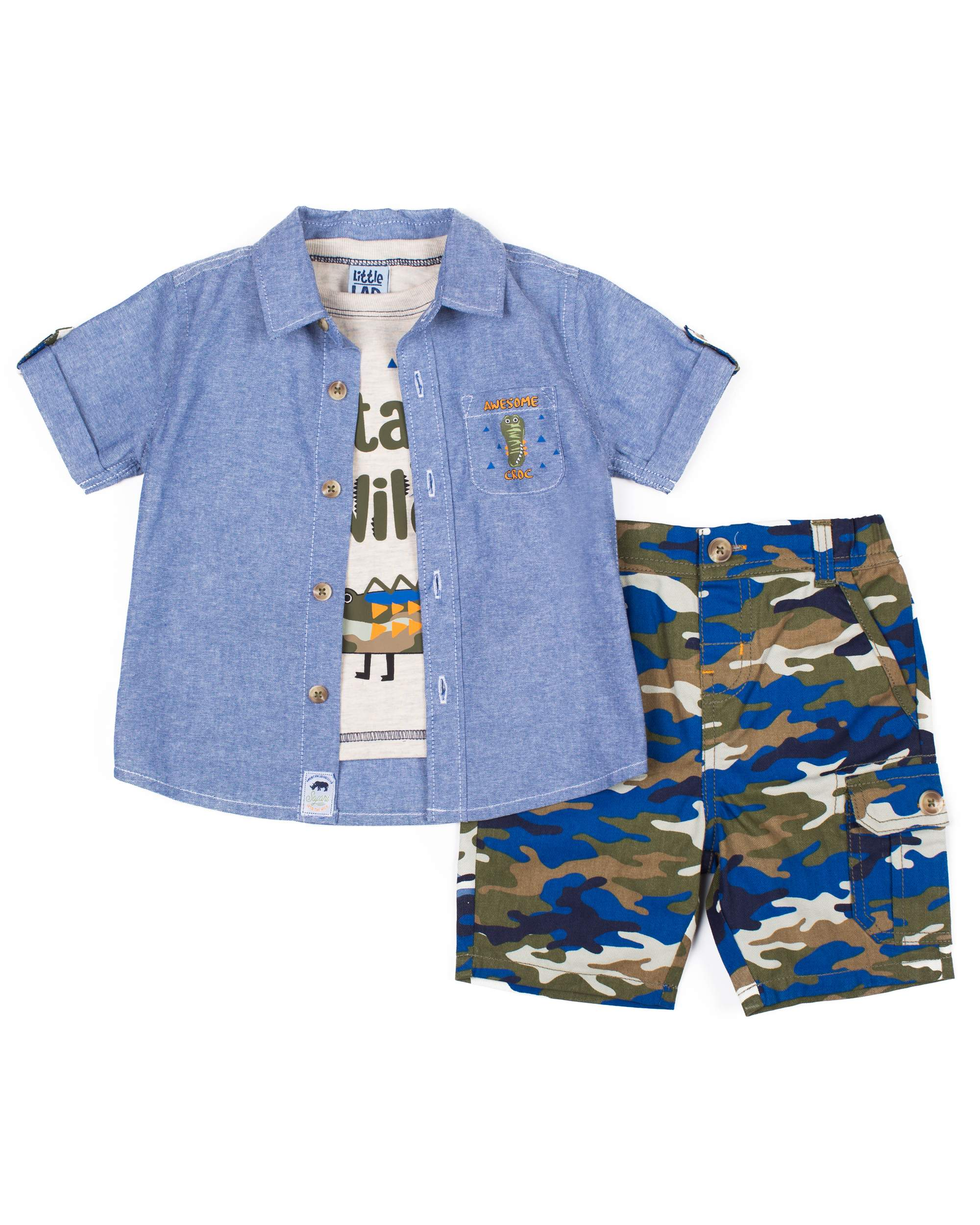 93912673d Little Lad - Short Sleeve Chambray Button Up Shirt
