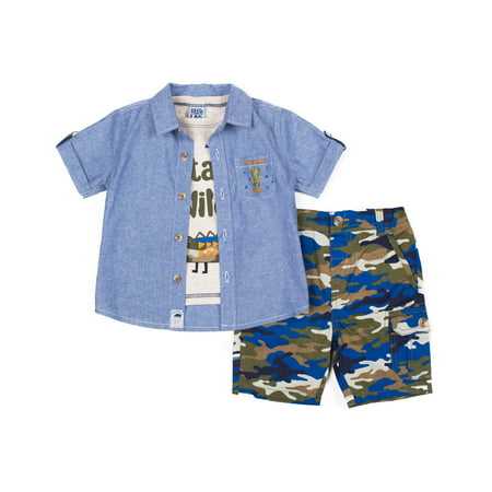 70abd7575d094 Short Sleeve Chambray Button Up Shirt, Short Sleeve Marled Graphic T-shirt  & Camo Print Twill Short (Baby Boys & Toddler Boys)