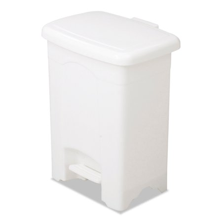 Safco Step-On Receptacle, Rectangular, Plastic, 4gal, White