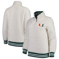 Miami Hurricanes Women's Varsity Banded Sherpa Quarter-Zip Pullover Jacket - Cream